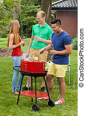 Diverse friends on a barbecue