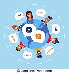 Diverse friends translating online conversation
