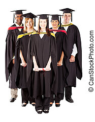 diverse graduates full length portrait - group of diverse...