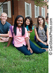 Diverse group of friends sitting on a lawn smiling