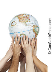 group of hands lifting a globe