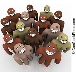 A group of people of various ethnicities looking up and smiling