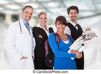 Diverse group of smiling workers