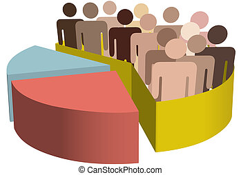 A chart with a diverse group of people as statistics symbols of majority, population, team, market, customers, census, audience, voters.