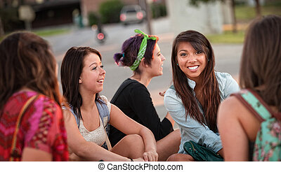 Diverse Group of Teenage Girls Talking