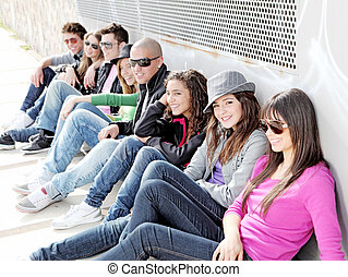 diverse group of teens or students on campus