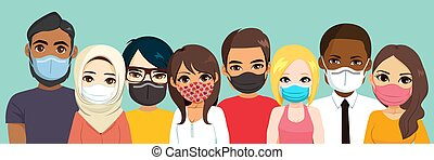 Diverse Group Wearing Different Masks