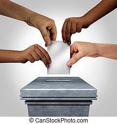 Diverse Hands Casting A Ballot - Diverse hands casting a...