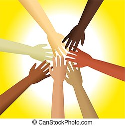 diverse hands - Group of diverse hands reaching out and...