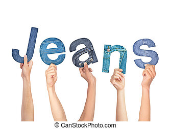 Diverse Hands Holding The Word Jeans