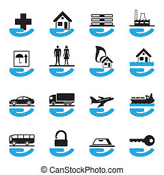 Diverse insurance icons set - vector illustration