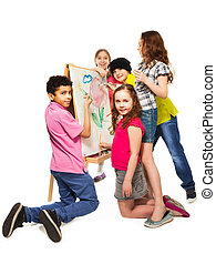 Diverse kids painting