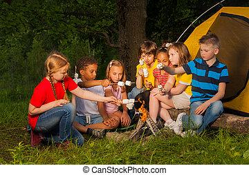 Diverse kids with marshmallow treat near bonfire