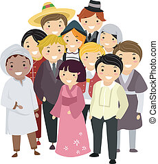 Illustration of People with Different Nationalities wearing their National Costumes