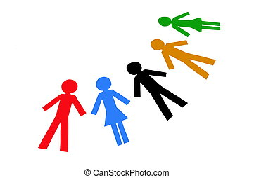 Diverse People - Diverse colorful people isolated on a white...