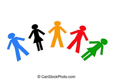 Diverse colorful people isolated on a white background