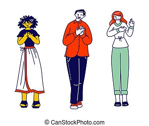 Diverse People Group Stand in Row Holding Palm on Heart Expressing Integrity and Honesty. Young Male and Female Characters Telling Truth, Swear in Fairness and Probity. Linear Vector Illustration