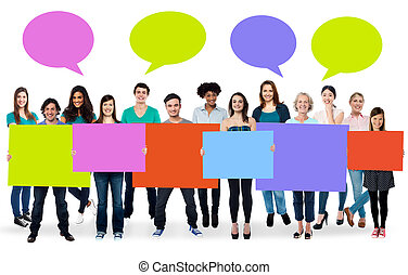 Diverse people holding colorful boards - Ad concept. ...