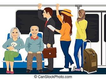 Diverse people inside metro subway train