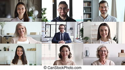 Diverse people look at web cameras listen webinar lecture participate group conference call with male leader, coach, mentor speaking during virtual video chat, online training webcast. Screen view