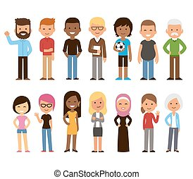 Diverse people set - Diverse set of cartoon people. Men and...