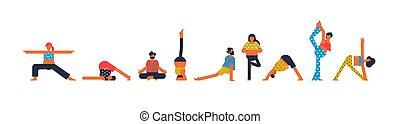 Diverse people set doing yoga pose exercises