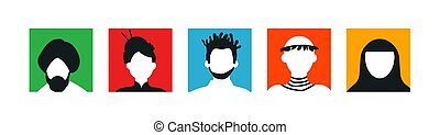 Diverse people set of colorful face icon
