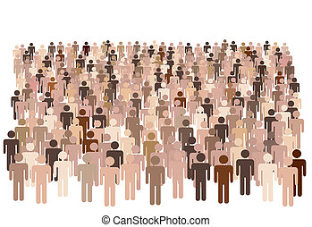 Diverse population of symbol people form large group - Crowd...
