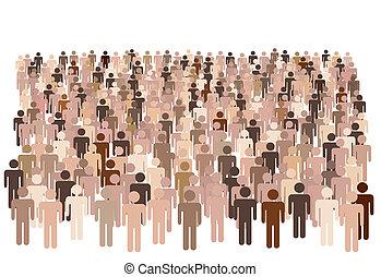 Diverse population of symbol people form large group - Crowd...