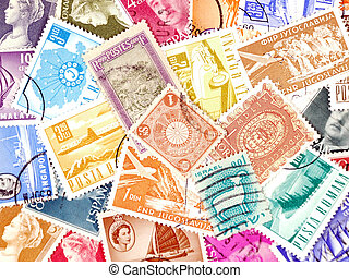 Diverse and colorful postage stamps from various European and Asian countries. Old collection.