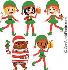 Diverse Santa Helpers