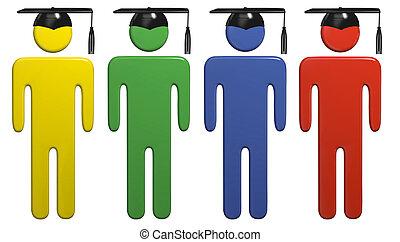 Diverse school education graduation cap students - College...
