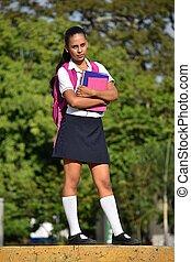 Diverse School Girl Standing In Park