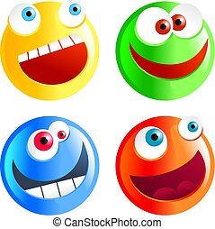 diverse smilies - set of colourful cartoon smilie face...