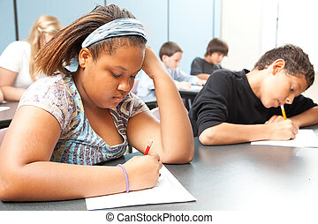 Diverse Students - Objective Testing - Classroom of diverse...