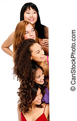 Diverse Teenagers with Blank Sign - A group of teenagers...