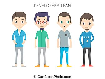 Diverse Vector People Set. Men, Different poses. Flat Cartoon Style.