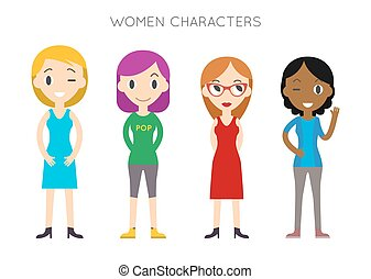 Diverse Vector People Set. Women, Different poses. Flat Cartoon Style.