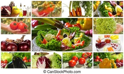 diverse vegetables and mixed salad - collage including ...