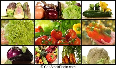 collage including diverse vegetables and olive oil pouring over tomatoes