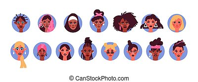 Diverse woman face avatar portrait set isolated