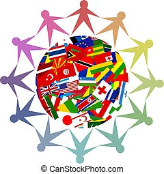 diverse world - Colourful icon made up of diverse people...