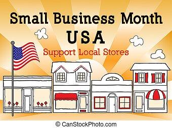 diversehandel, affär, usa, stöd, månad, liten, lokal