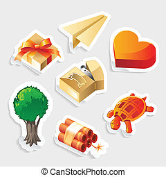 diversen, sticker, pictogram, set
