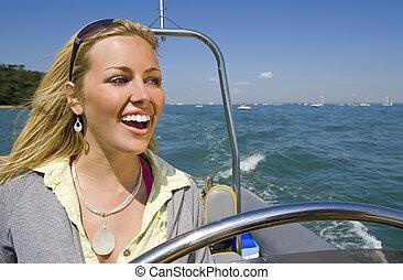 diversión, barco, mujer, teniendo, rápido