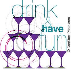 diversión, bebida, tener, y