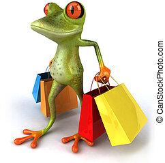 diversión, bolsas, compras, rana