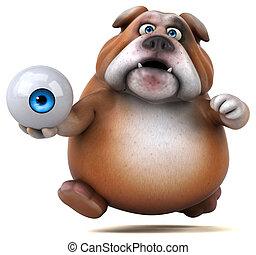 diversión, bulldog, -, ilustración, 3d