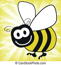 diversión, bumble, vector., abeja