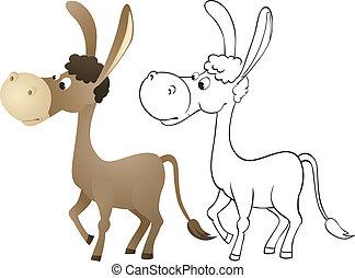 diversión, burro, caricatura